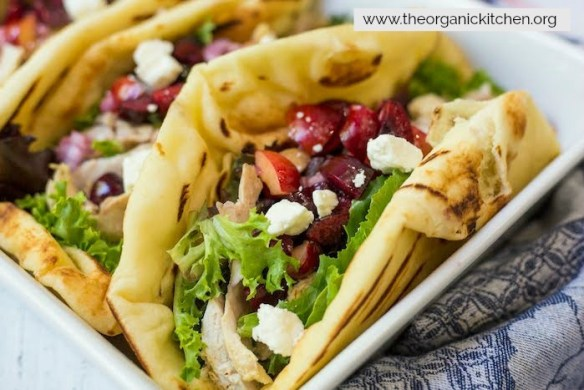Grilled Naan Chicken Salad Wraps with Cherry Salsa #saladwraps #easydinner #cherrysalsa #chickenwraps