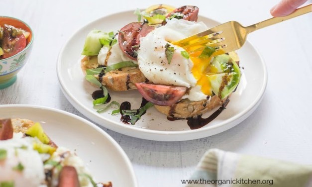 Heirloom Tomato Burrata Toast with Poached Eggs!