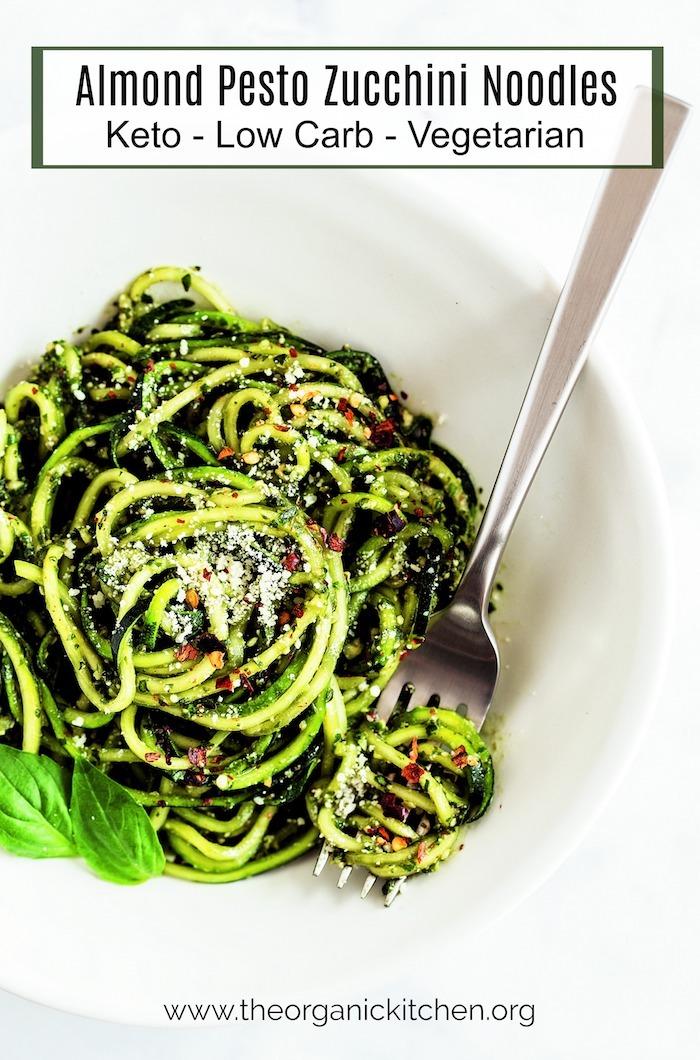 Almond Pesto Zucchini Noodles #zoodles #almondpesto #zucchininoodles #keto #lowcarb
