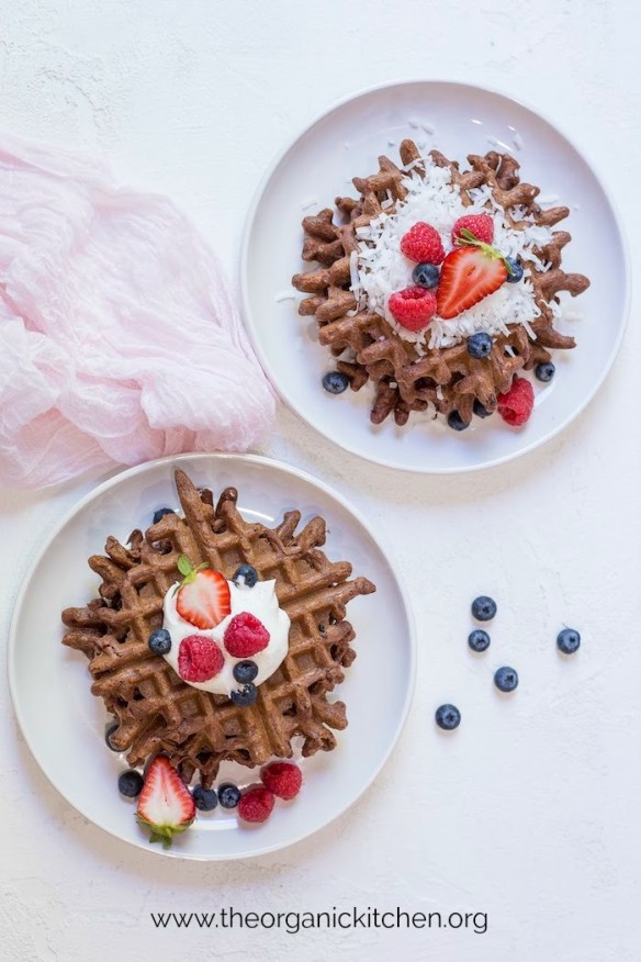 Easy Chocolate Waffles with Paleo-Grain Free Option #chocolatewaffles #paleochocolatewaffles #glutenfreechocolatewaffles