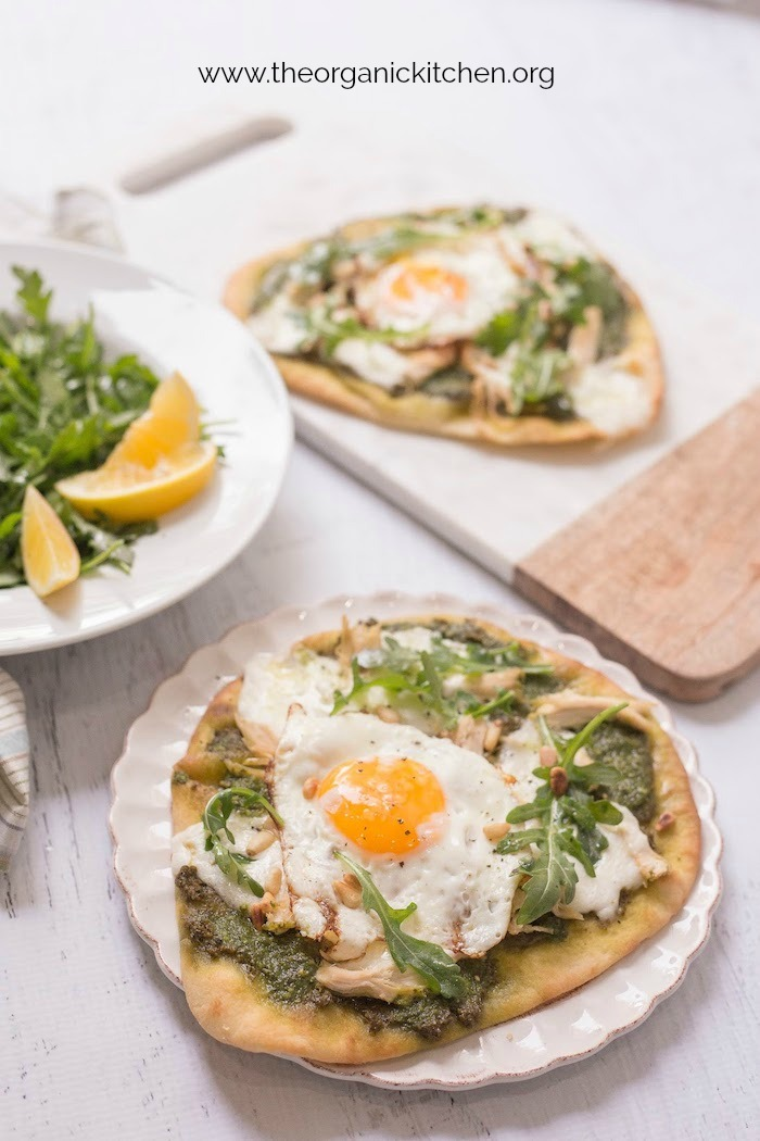 Chicken Pesto Burrata Naan Pizza with Fried Egg