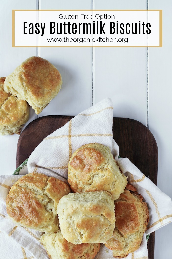 Easy Buttermilk Biscuits on gold and white dish towel
