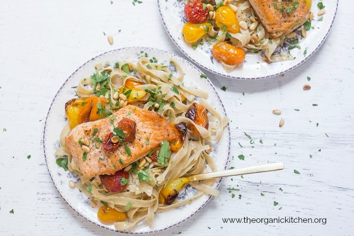 Crispy Salmon with Blistered Tomatoes and Pasta