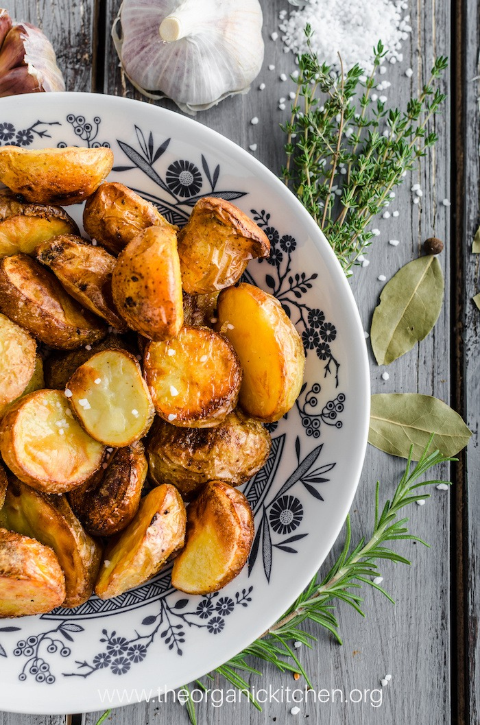 A bowl full of Whole30 Roasted Potatoes (with Rosemary Garlic Option)