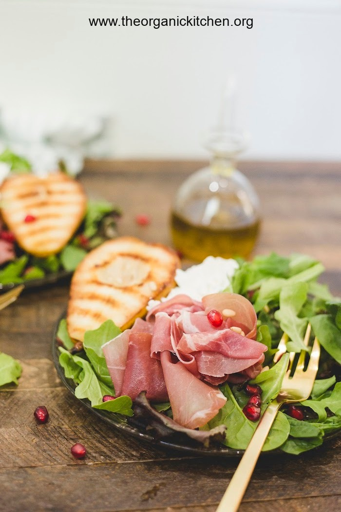 Grilled Pear and Prosciutto Salad with burrata cheese