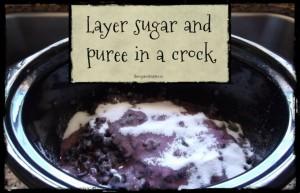 Layer sugar and puree