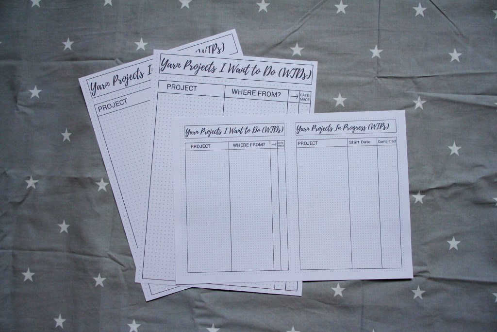 Works in Progress and Want to Dos Printable Worksheets in A4 and A5