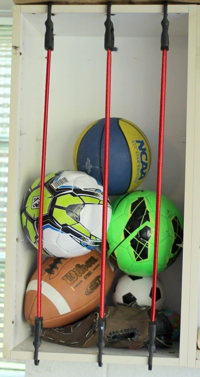 Sports Ball Garage Storage Solution - Ball Storage Garage With Bungee Cords