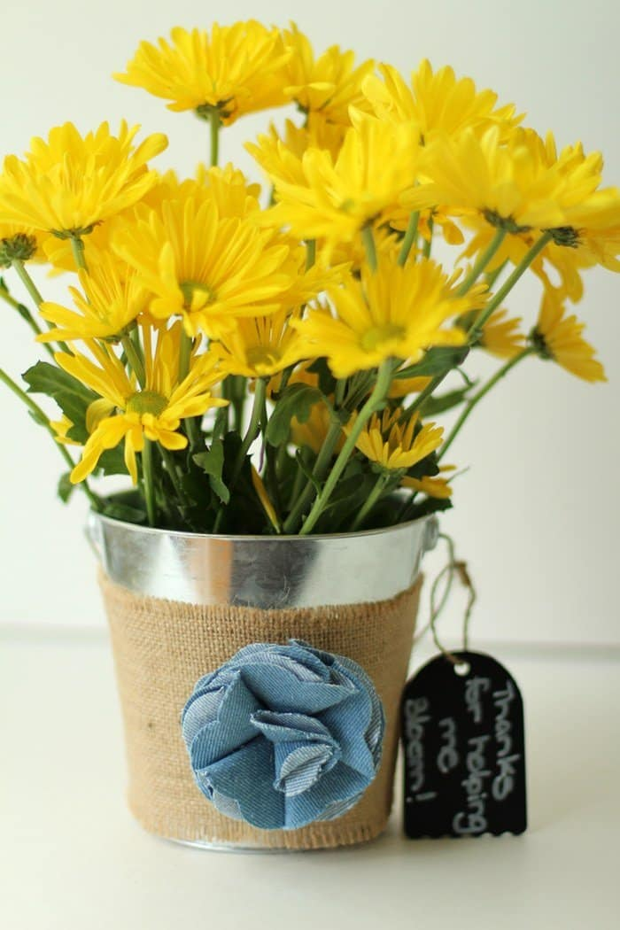 End Of Year Teacher Gift - Bucket With Flowers