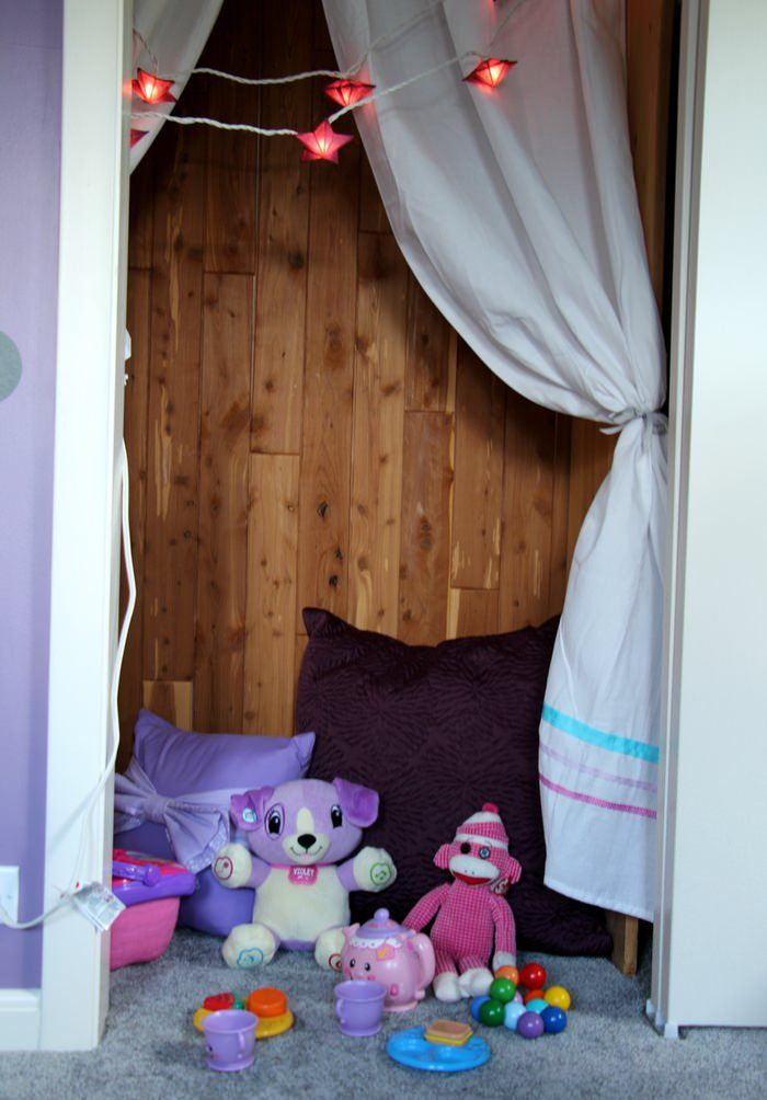 Room Tour: Purple, Teal and Grey Toddler Room - Closet Cozy Corner