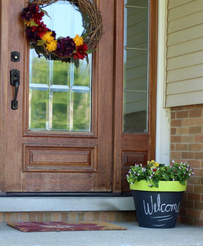 DIY Chalk Paint Terra Cotta Planters - Front Door