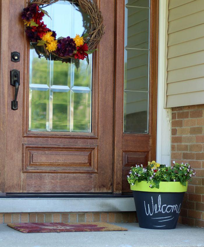DIY Chalk Paint Terra Cotta Planters - Front Door
