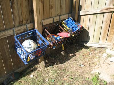 Organizing Outside Toys - Milk Crates as Storage