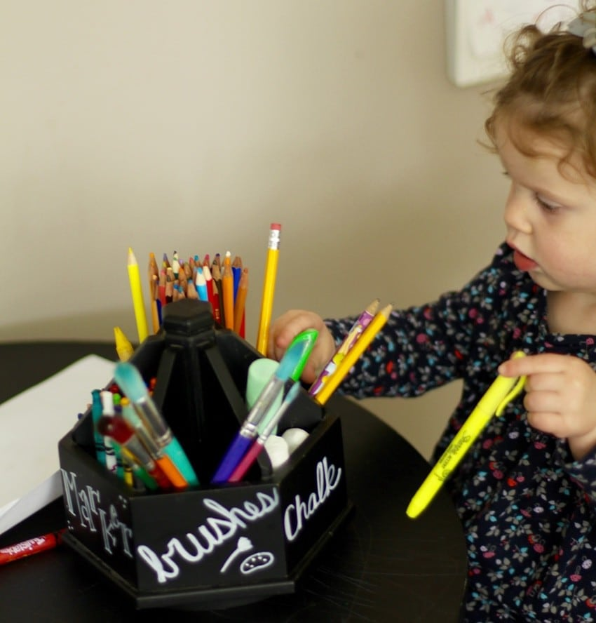 Organizing Kids Crafts - Coloring At Table