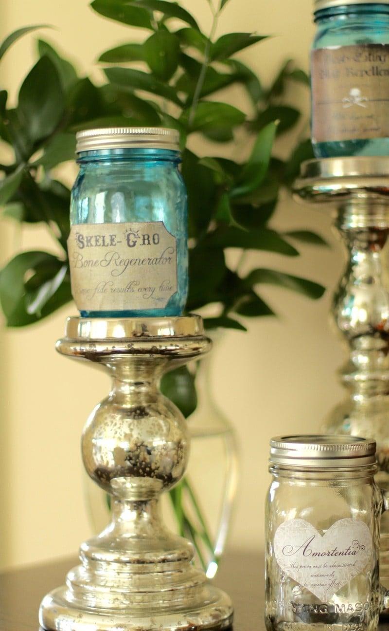 Halloween Party Ideas - Harry Potter Potion Mason Jars