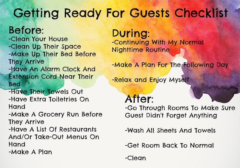 Getting Ready For Guests Checklist