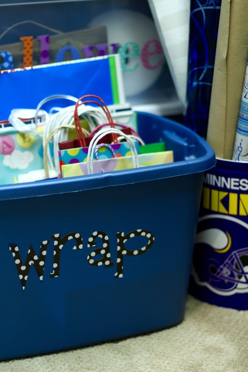 How To Organize A Storage Closet - Gift Wrap Station