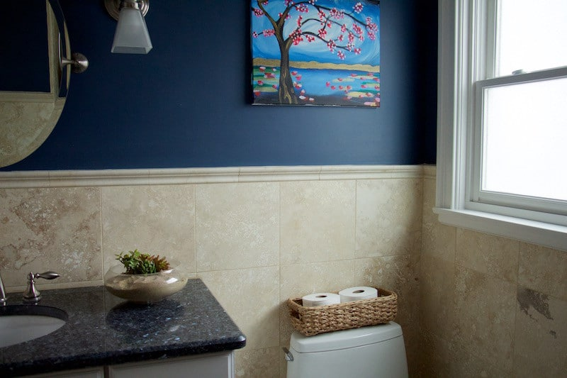 Navy, Coral, And Gray Kids Bathroom Reveal