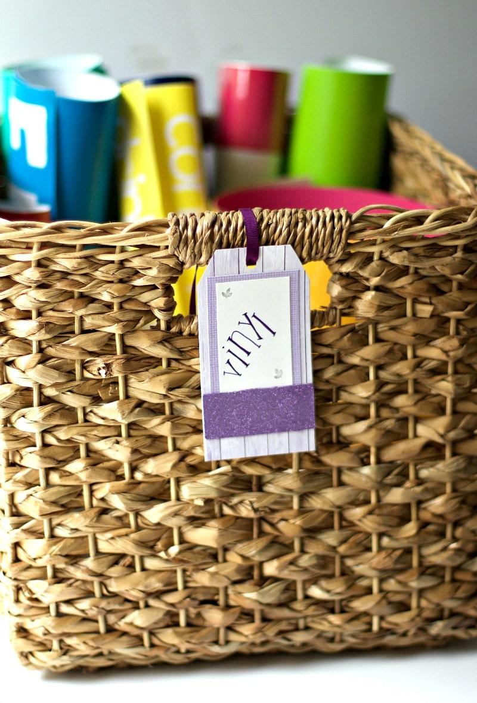 Glittery Label On Basket