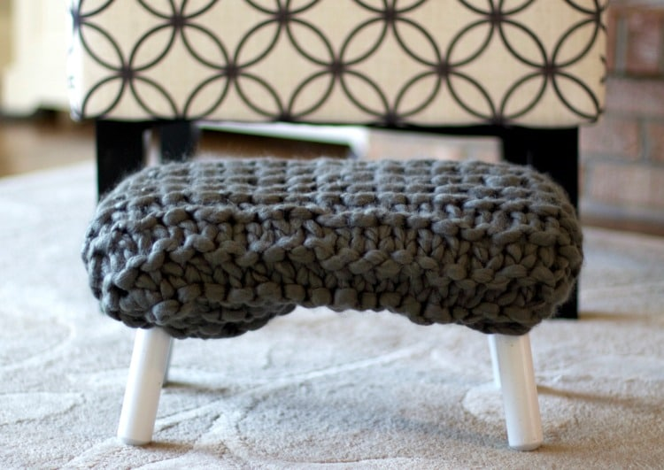 Upholstered Chunky Knit Footstool Tutorial
