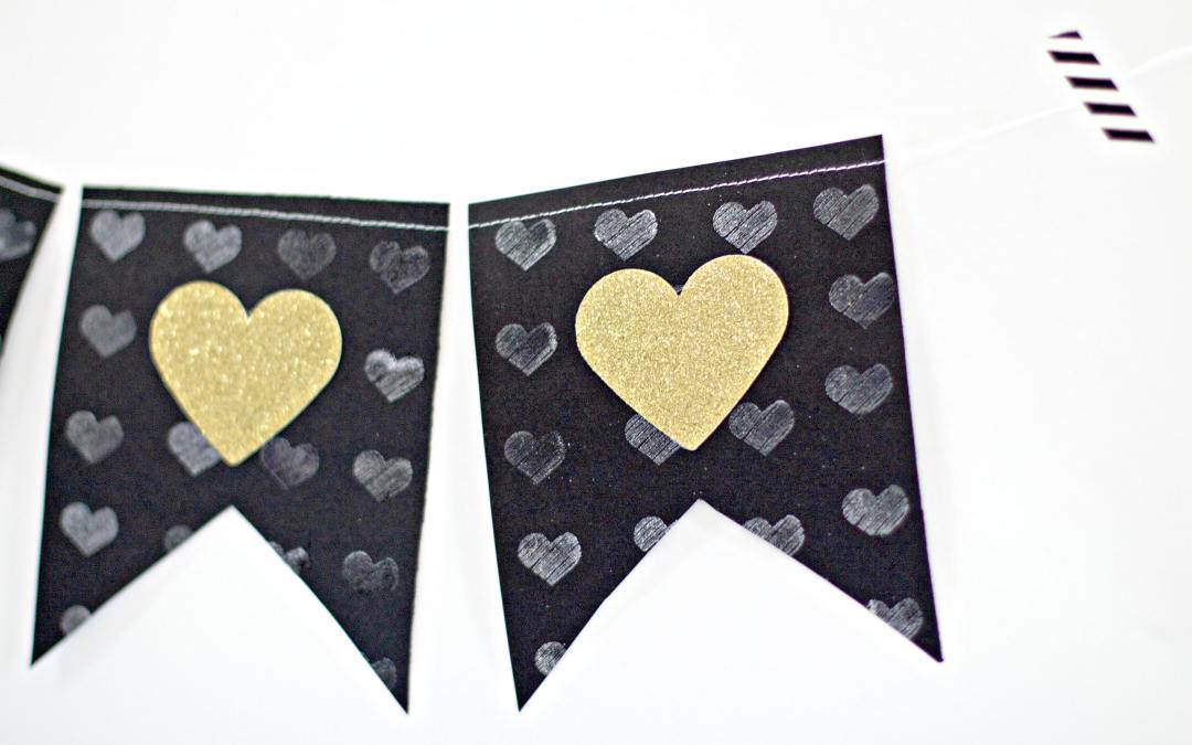 Glittery Heart And Embossed Banner