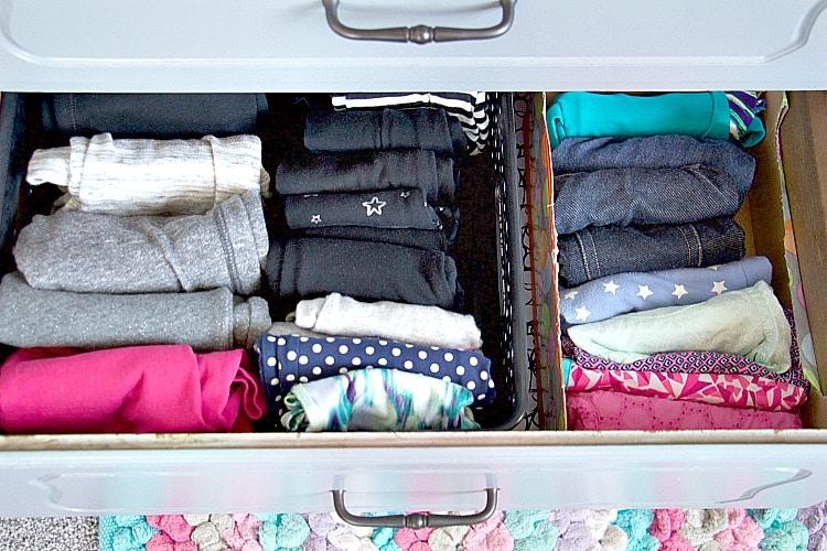 kids pant drawer organizing