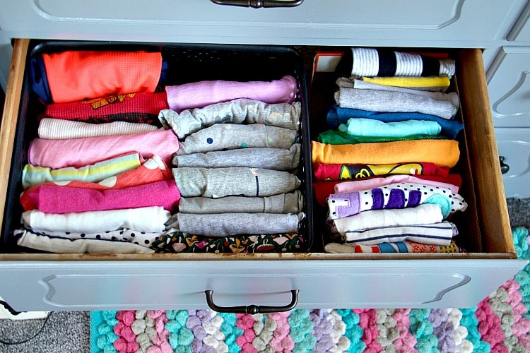 t-shirt drawer organization