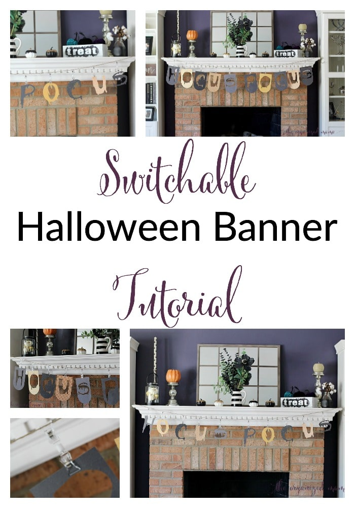 Love mantel banners but hate changing it up? This easy tutorial to create a switchable Halloween banners are perfect! #Halloween #decor #Halloweendecoration