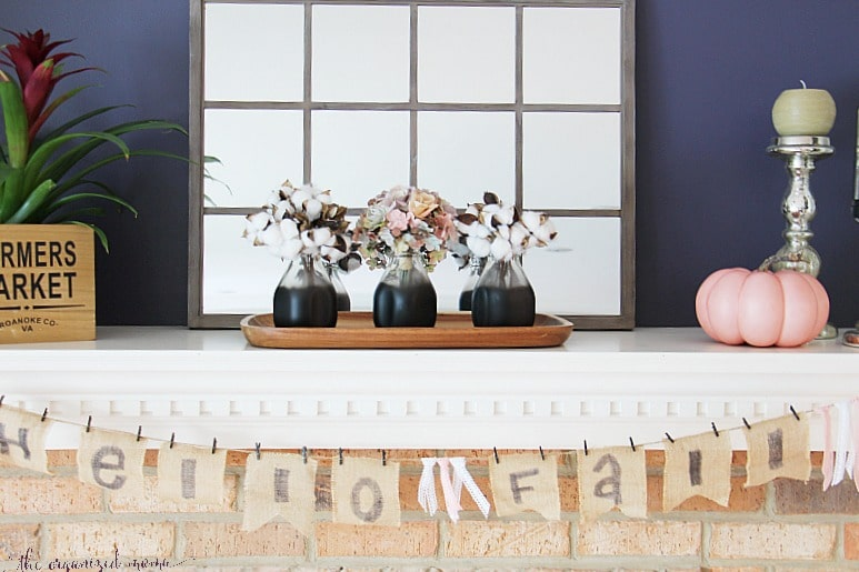 fall mantel with burlap banner
