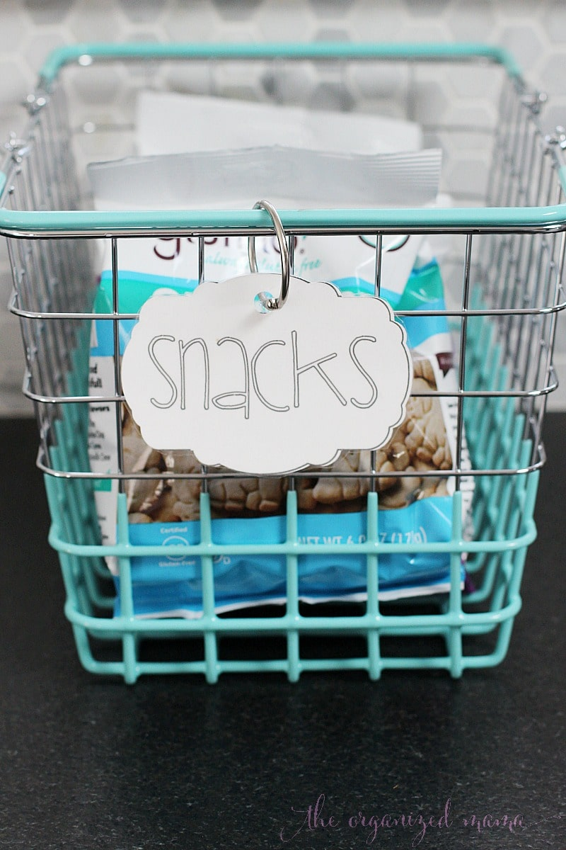 snacks pantry labels basket