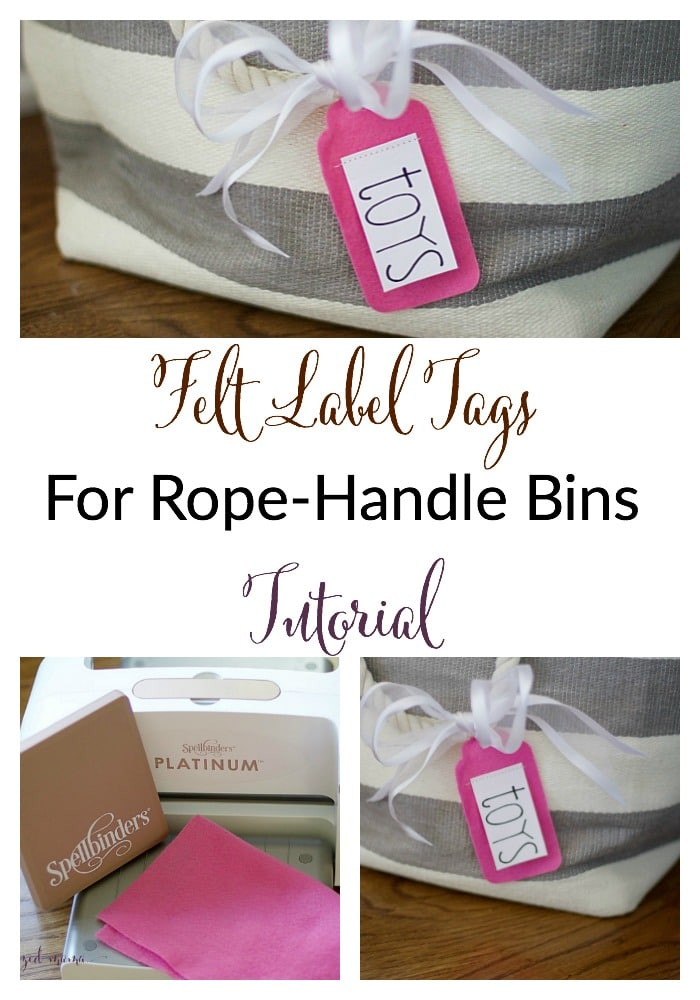 Tricky containers call for creative labels! Follow this felt label tags tutorial to use on bins with rope handles to keep things organized! #organizetoys #labels