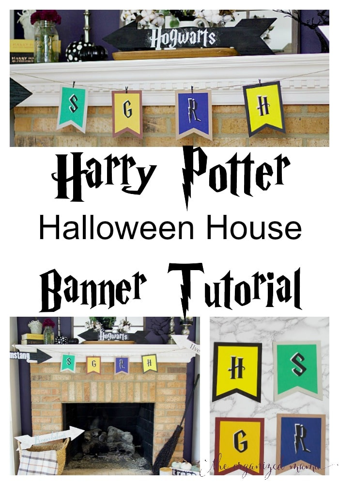 Decorate your home for Halloween by creating a Harry Potter inspired mantel with house banners and school signs! #harrypotter #halloween