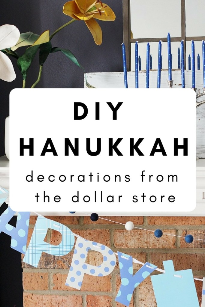 Using dollar store felt balls, I created Hanukkah decorations for the mantel and around the home. Add some festive decor to your home with ease! #hanukkah #diy #decor