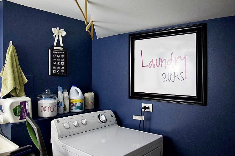 These budget-friendly laundry room organization ideas for small spaces will help anyone with a tiny laundry area get organized and make it look pretty at the same time! #laundryroom #organize #decor
