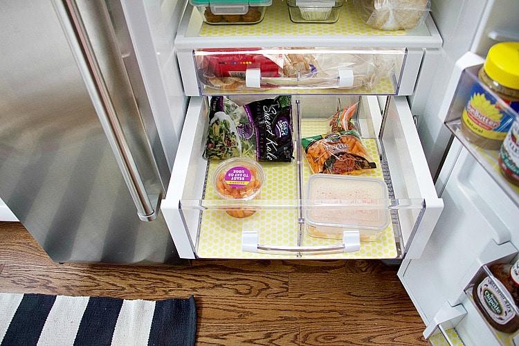 drawer organization in fridge organization liners