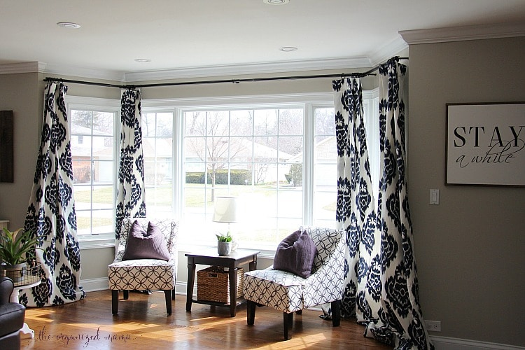How To Hang Bay Window Curtains On An Oversized Window