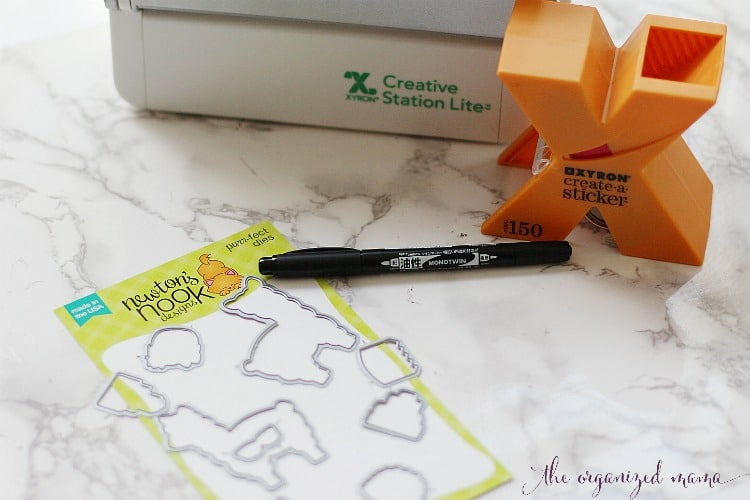 materials for llama labels post: xyron creative station lite, newtons nook llama die cuts and tombow pen