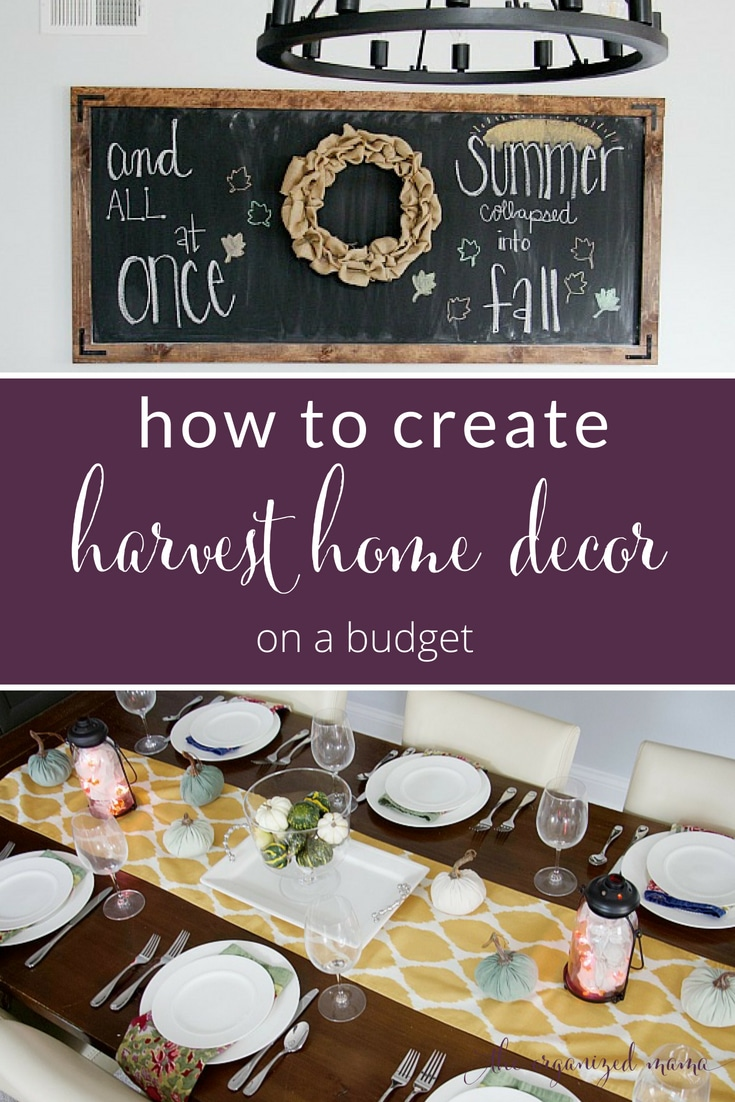 Learn tricks for adding harvest home decor to your home for fall by using what you have along with items from The Dollar Store. #fall #decor