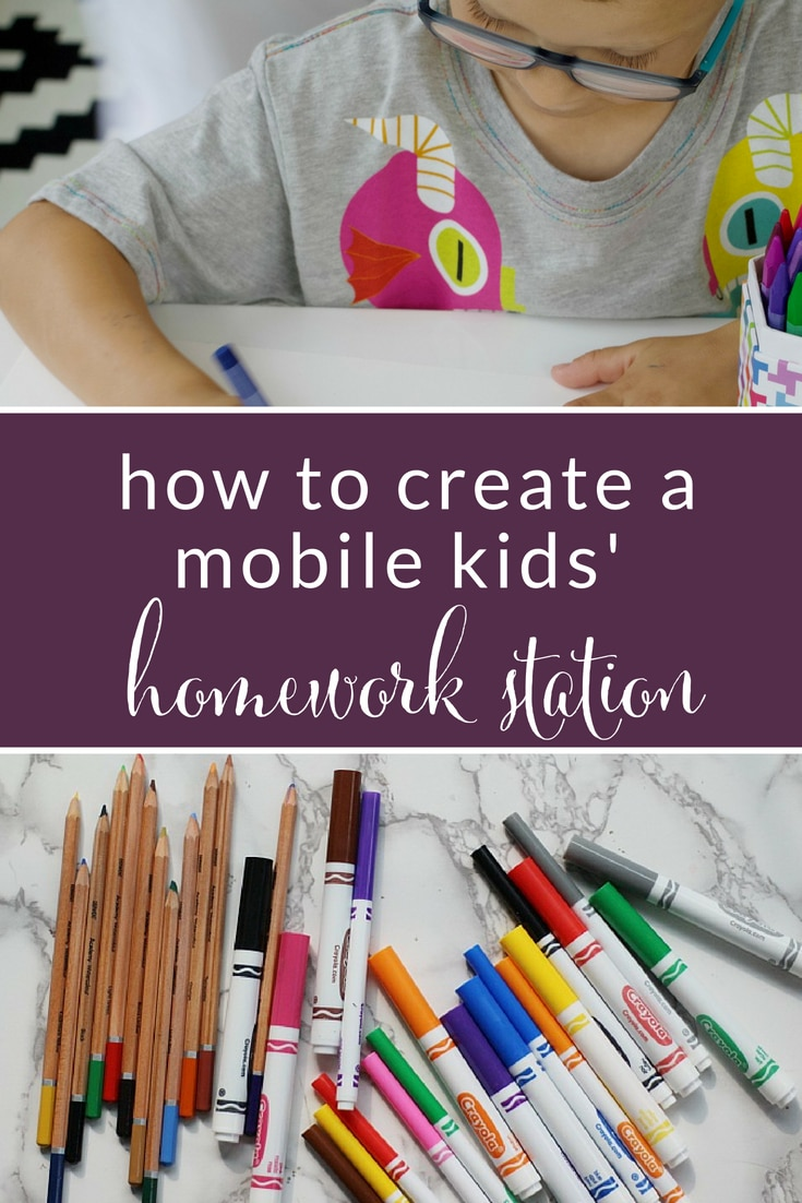 Professional organizer is sharing her tips for how to create a mobile kids' homework station that can easily grow with your student throughout the year. #backtoschool #homework