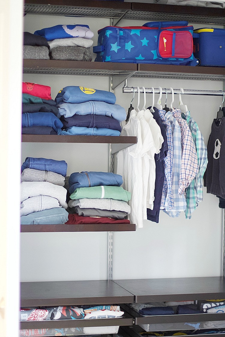 kids closet shelving and hanging