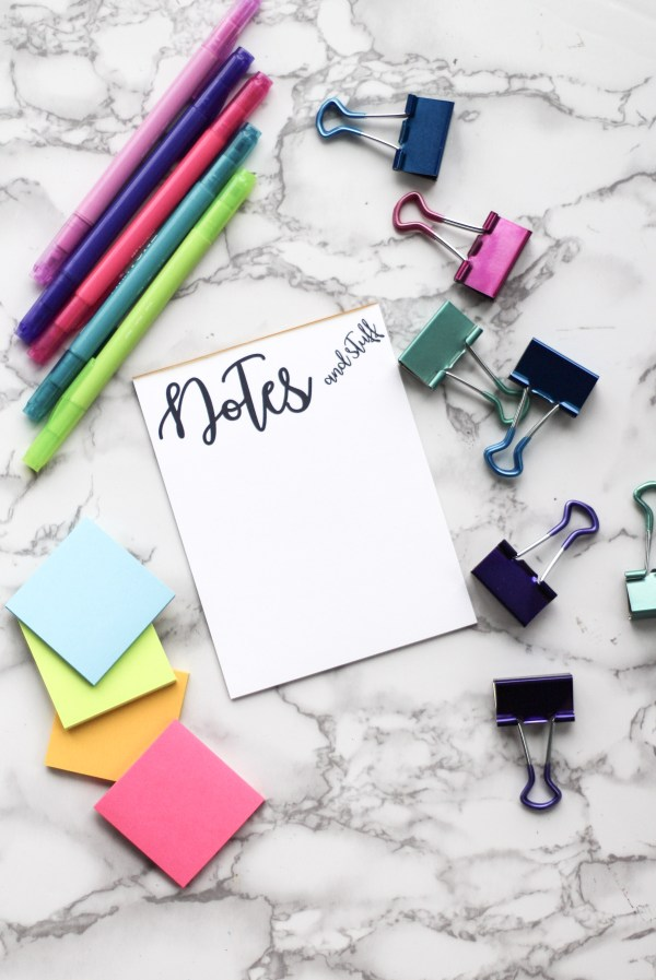 Give the gift of organization with this adorable notes and stuff notepad. 50 sheets on cardstock with cardboard backing. Perfect for yourself or a friend!