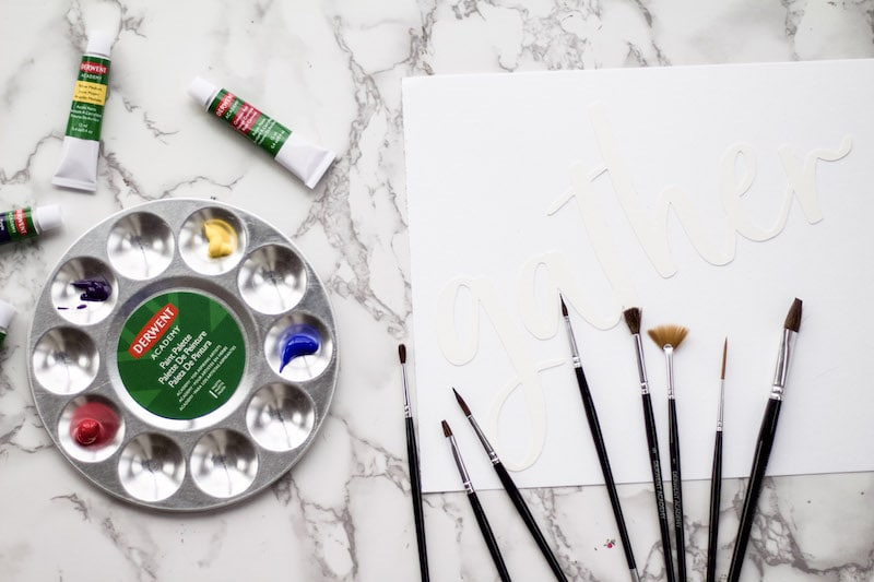 This tutorial has an easy way to create a DIY hand painted sign without having to write anything yourself! Cheat your way to a hand lettered sign! #handlettered #paintedsign #homedecor