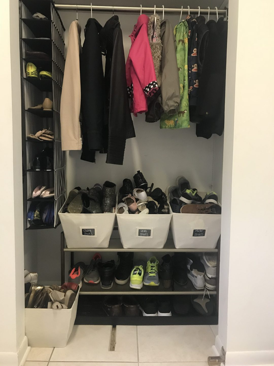 mudroom with kids and shoe organization