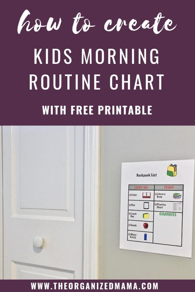 effective tips for how to create a kids morning routine chart. Plus a free printable for you to download. #executivefunctioning #organizingwithkids