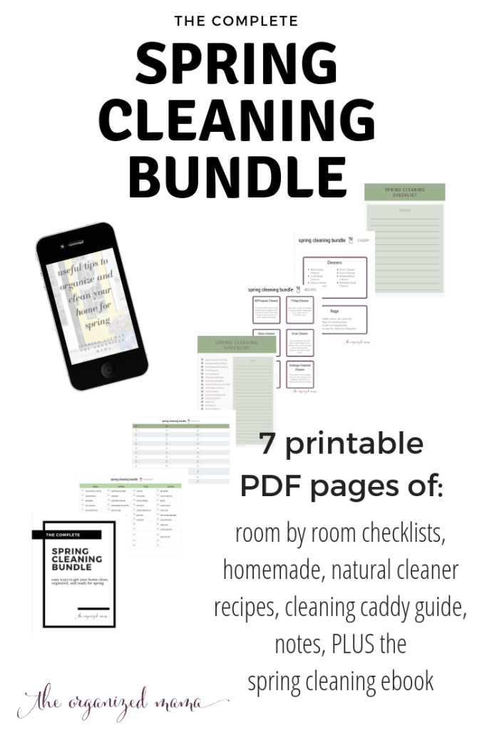 spring cleaning bundle including room-by-room checklists, cleaning recipes, caddie checklists, and more! Plus a copy of the spring cleaning ebook to help you get organized and clean! #springcleaning #printables