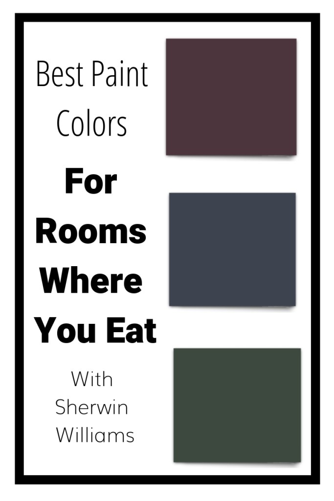 Paint colors swatches from Sherwin Williams that show you what the best paint colors are for rooms where you eat, like dining rooms and kitchens.