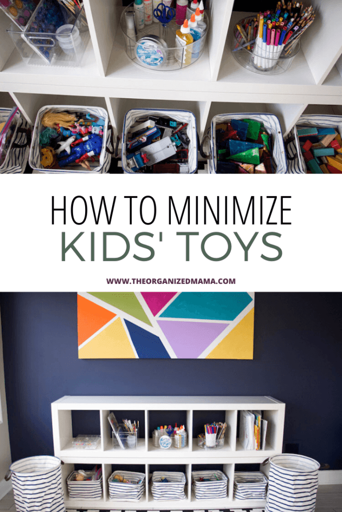 how to minimize kids toys overlay with playroom pictures above and below