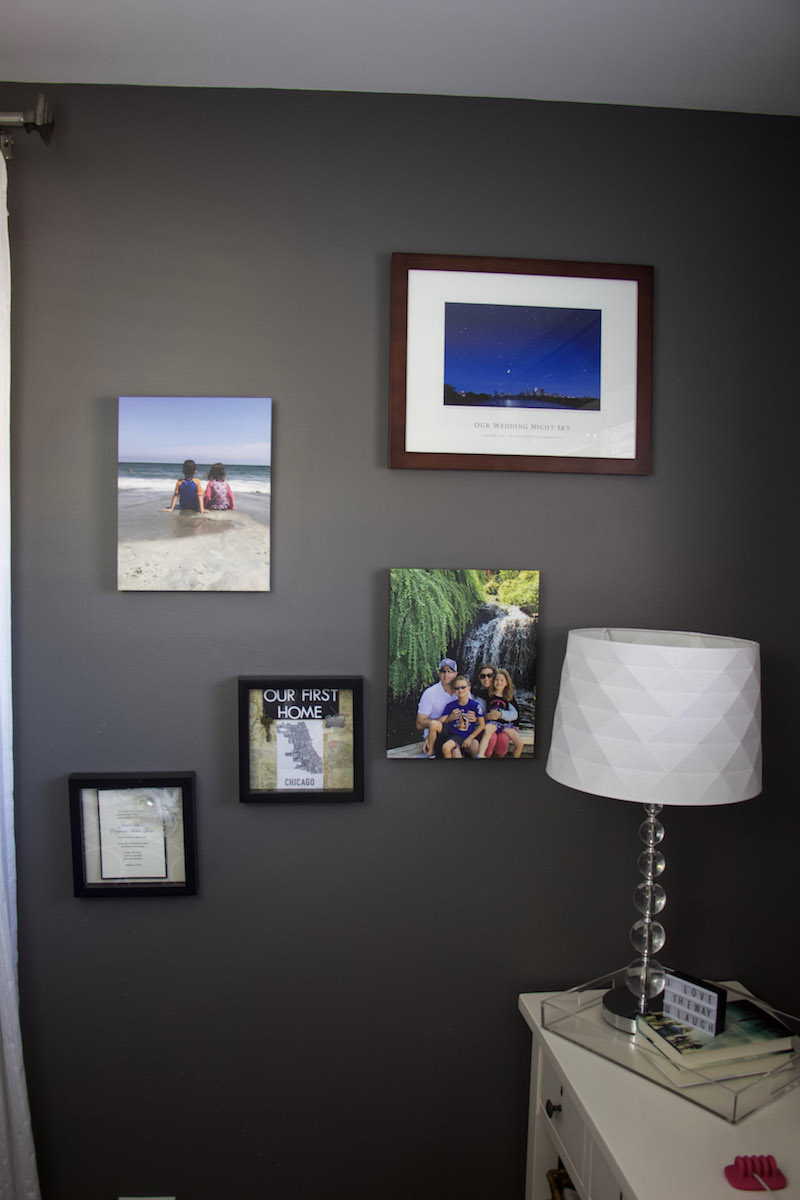canvas prints on wall with mixbook for cozy bedroom decor