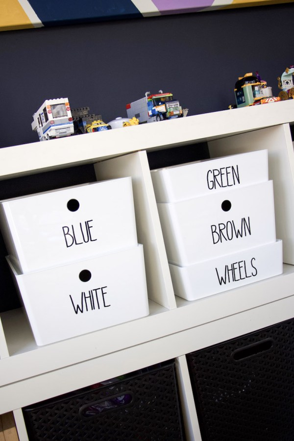 legos in bins with labels and displaying lego creations