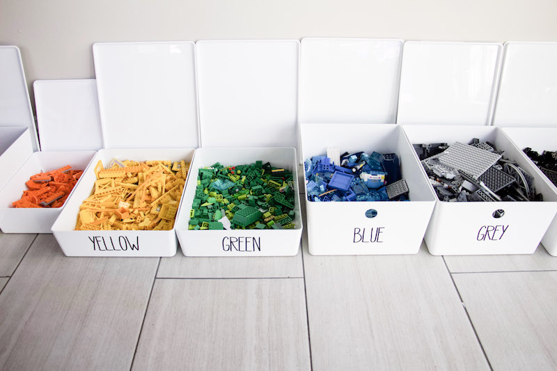 adding labels to bins that hold color coded legos